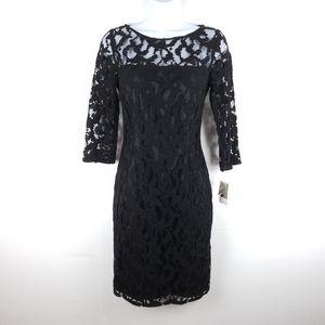 NWT Aidan Mattox Black Lace Dress Size 4